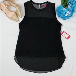 VINCE CAMUTO BLACK SLEEVELESS BLOUSE NEW W…
